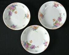Set of 3 Epiag Czechoslovakia Bridal Rose White Round Soup Bowls