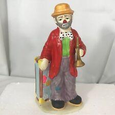 Clown Figurine w/ Trumpet Instrument Traveler Trunk 7.5� Emmett Kelly Jr Flambro