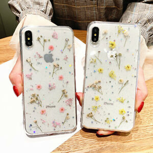 Glitter Real Dried Flower Clear Phone Case Cover For iPhone 12 11 Pro SE 7 8 XR