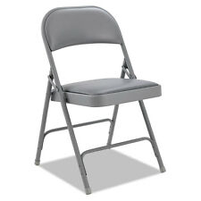 Alera Steel Folding Chair with Two-Brace Support, Padded Back/Seat, Light Gray,