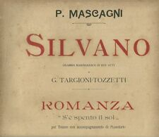 Spartito Musicale Silvano Dramma Marinaresco di Mascagni per Tenore e Pianoforte