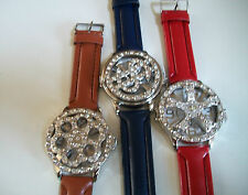 DEAL OF 3 MEN'S SILVER FINISH WITH LEATHER BAND FASHION SPINNER  WATCHES