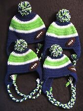 Crochet Seahawk Hats - Ear Flaps, Braids, Pom Pom And Football - Baby to Adult