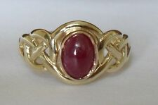 Clogau Welsh 9ct Gold Yellow And Rose Gold Ruby Birthstone Celtic Ring Size Q