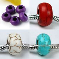 5pc Howlite Turquoise Loose European Bead Fit Charms Bracelet Jewelry Making DIY