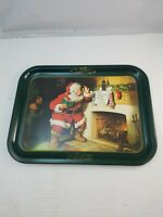 Christmas Santa Coca-Cola Large Serving Tray Playing with Toy Train Helicopter