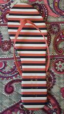 Women's 7 LC LAUREN CONRAD Coral Stripe Flat Flip Flops Thongs Sandals Shoes NEW
