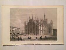 GRAVURE GEOGRAPHIE UNIVERSELLE 1881 MALTE BRUN CATHEDRALE MILAN ITALIE