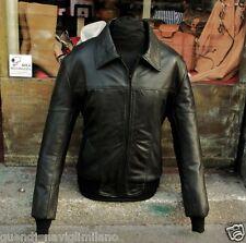 Giubbotto giacca in pelle nera uomo originale modello Fonzie stile anni 70