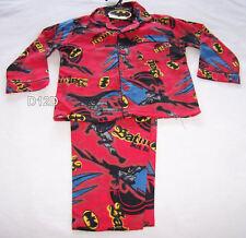 Batman Boys Red 2 Piece Flannel Pyjama Set Size 3 New