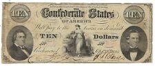 T-25 Pf-1 $10 1861 Confederate Paper Money