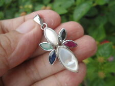 NATURAL Emerald, Sapphire, Ruby & Mother of Pearl STERLING 925 SILVER PENDANT