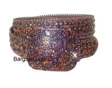 Brown Leopard Cheeta Animal Print Topaz Rhinestone Bling Hair on Leather Belt ML