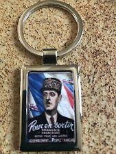 PORTE CLÉ MÉTAL RECTANGLE CHROMÉE Président De Gaulle Affiche Électorale 🇫🇷