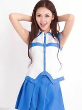 Fairy Tail Lucy Costume Dress Blue White School Girl Uniform For Cosplay Size XL