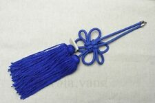 1Pcs Luxury Car Rearview Mirror Charms Good Luck Blue Chinese Knot Hang Vip Gift