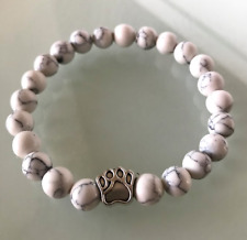UK.Beautiful White Howlite Crystal Gemstone Silver Dog/Cat Paw Bead Bracelet.