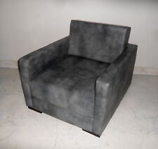 Urban Retro Low Sitting  Flip Out Chair Bed  In a Steel Grey Faux Leather