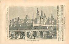 Pont en Bois Moskova Kremlin Moscou / Bourse de Saint Petersbourg GRAVURE 1836