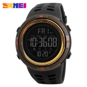 SKMEI 1251 Men's Watch Dual Time 5ATM Military Digital Wristwatches Brown Gold