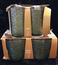 Vtg Anchor Hocking Soreno Green On The Rocks & Juice Glasses Lot Of 7-Estate