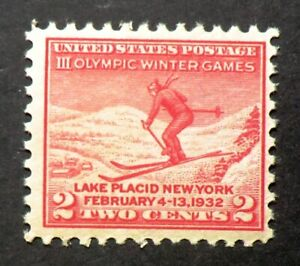 716 MNH 1932 2c Winter Olympic Games Lake Placid New York Downhill skiing skier