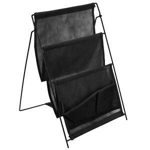 Black Folding Magazine Rack 3 Pockets Canvas Newspaper Home Work Storage Stand