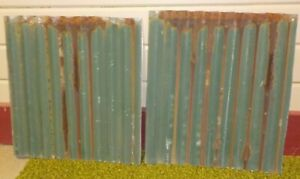 2 Barn Tin Corrugated Metal Reclaimed Salvage 12 BY 13 INCHES RUSTIC GREEN METAL