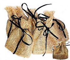 6x sachets de Jute 7 x 8 cm avec vert Cordelette, Sac pour cadeaux Emballage