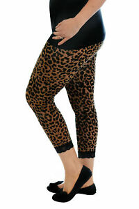 New Womens Leggings Plus Size Ladies Cropped Leopard Lace Trim Trousers Nouvelle