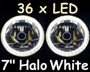 "WHITE 7"" Round LED Ring Halo Angel Eye Headlights Head Lights H4 Semi Sealed"