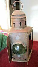 Antique Brass Nautical Ship Lantern Spotlight Green Red Glass Dietz Kerosene
