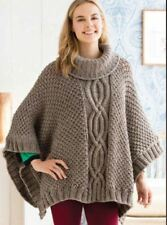 Cabled Womans Poncho One Size Chunky Wool -  Knitting Pattern