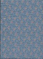 "New Pink and Orange Flowers on Light Blue 100% Cotton Fabric 25"" x 16"" Piece"