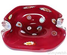 NiCE Vtg MURANO 🇮🇹 Millefiori Bowl FRATELLi TOSO ArT GLaSs Tray DISH Red