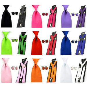 Men Solid Color Wide 8cm Neck Tie Stretch Y-shape Braces Suspender Cufflinks Set