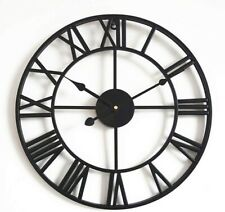 GRANDE Roman Orologio da parete in metallo NUOVO organizzare a casa cucina e GIARDINO FERRO NERO NUOVO