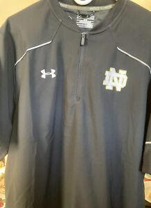 Notre Dame Under Armour black 1/4 zip pullover XL brand new