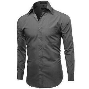 Men's Long Sleeve Wrinkle Resistant Tailored Fit Formal Button Up Dress Shirt