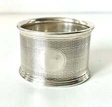 More details for  art deco solid sterling silver engine turned chunky napkin ring
