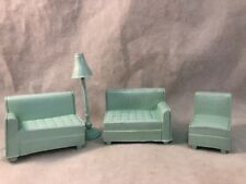 Superior Vintage Green Split Couch Chair Floor Lamp Plastic Doll House Furniture