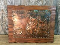 Vintage Copper Cat Art Hand Hammered Sculpted Copper With 2 Cats Playing A6