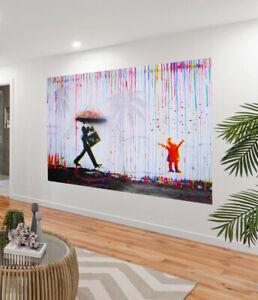 rainbow rain man joy life painting CANVAS STREET ART GRAFFITI urban pepe