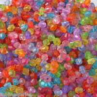 6000 Mix Acryl Doppelkegel Perlen Bicone Rhomben Facettiert Beads 4x4mm