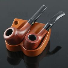 Solid Wood Tobacco/Smoking Pipe Stand/Rack/Holder Holds 2 Pipes