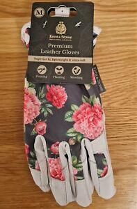 Kent & Stowe Premium Leather Gloves Ladies Size Medium M Grey Peony *NEW*