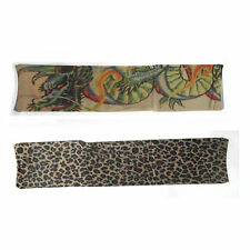 2 Tattoo Sleeve Wearable Tattoos Dragon Leopard Print Adult Halloween Costume