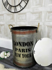 Large Industrial retro style metal storage laundry bin basket study home decor