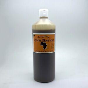 1L African Black Soap LIQUID Raw Coco Shea Butter Body Wash 1000ml 100% NATURAL