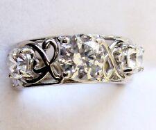 Made With Swarovski Zirconia, Lacy Band Ring, 925 Sterling Silver, sz 8 --- 4cts